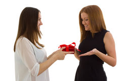 Lady giving a gift Stock Photos