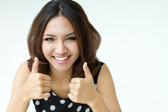 Lady giving TWO THUMBS UP!! Royalty Free Stock Images