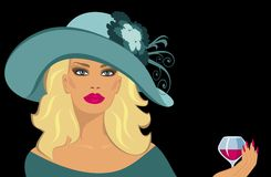 Lady with a glass of liqueur. Blonde with a glass of liqueur vector illustration