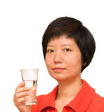Lady with a glass of water Stock Image