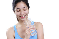 Lady With A Glass Of Water Stock Photo