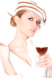 Lady with a glass of wine Stock Image