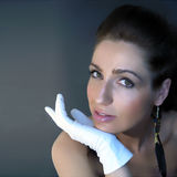 Lady with gloves Royalty Free Stock Images