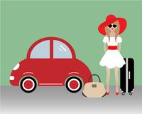 The lady goes on vacation. Vector illustration. There is a woman in a red hat near the red car on the picture Royalty Free Stock Image