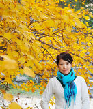 A lady in golden autumn Stock Photo