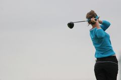 Lady golf swing Royalty Free Stock Photos