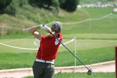 Lady golf swing. In losone Royalty Free Stock Images