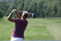 Lady golf swing Stock Photo