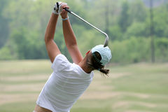 Lady golf swing. In evian Stock Photo