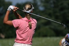 Lady golf swing Stock Photos