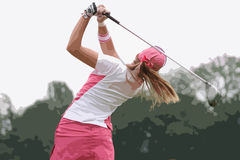 Lady golf swing Royalty Free Stock Photo