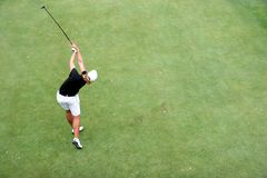 Lady golf swing in evian Stock Photography