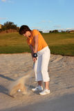 Lady Golfer. Playing golf just before sunset Royalty Free Stock Photography