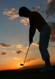 Lady Golfer. Sillhouette of lady golfer Royalty Free Stock Photos