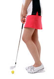 Lady Golfer. Woman using a nine iron Stock Image