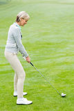 Lady golfer on the putting green Royalty Free Stock Photo
