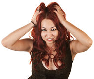 Lady Grabbing Her Hair Royalty Free Stock Images