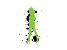 Lady In green. Silhouette of a sexy woman Royalty Free Stock Images
