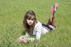 Lady on a green grass (1) Stock Images