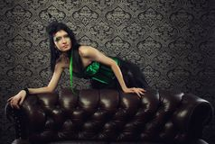 Lady in green Stock Image