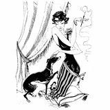 The lady with the Greyhound. Retro-style. Graphics. Monochrome. Vector. royalty free illustration