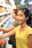 Lady at the grocery stock photography