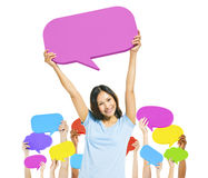 Lady and Group of Hands with Speech Bubbles Stock Image