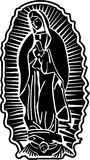 Lady of Guadalupe Vector Art. Black White image of Lady of Guadalupe high resolution  art available Stock Images