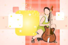 Lady with Guitar. Easy to edit vector illustration of lady with guitar vector illustration