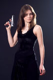 Lady and gun stock photo