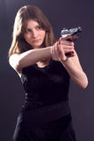 Lady and gun Stock Photos