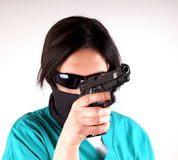 Lady with gun Royalty Free Stock Images