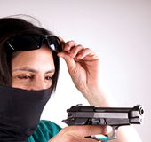 Lady with gun Royalty Free Stock Image