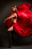 Lady in gypsy costume dancing flamenco Stock Images