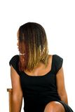 Lady hair in face on chair Royalty Free Stock Images