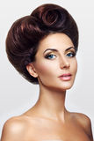 Lady with hair in the shape of heart Stock Photo