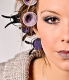 Lady Hair Style. Lady Working on Hair Style Fashion Royalty Free Stock Photography