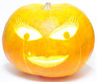 Lady Halloween pumpkin Stock Photos