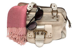 Lady hand-bag in rose charge Royalty Free Stock Images