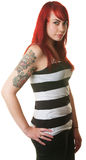 Lady with Hand on Hip and Tattoo Royalty Free Stock Image