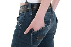 Lady with hand in pocket Stock Images