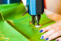 Lady hand at sewing Royalty Free Stock Photography