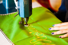 Lady hand at sewing Stock Photography
