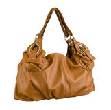 Lady handbag in brown color isolated  Royalty Free Stock Photos