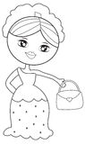 Lady with a handbag coloring page. Useful as coloring book for kids Royalty Free Stock Photos
