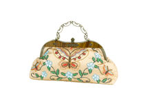 Lady handbag decorated by colorful beads Royalty Free Stock Images