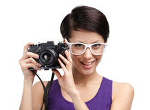 Lady hands professional photographic camera Stock Photo