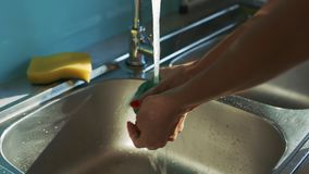 Lady hands wash green rag under water jet from tap. Closeup lady hands wash green rag under water jet from tap above stainless steel sink in modern kitchen stock footage