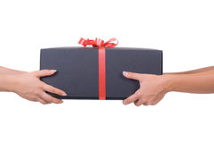 Lady hands whit gift Stock Photo