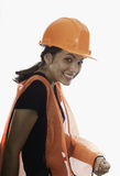 Lady hardhat worker Royalty Free Stock Photography
